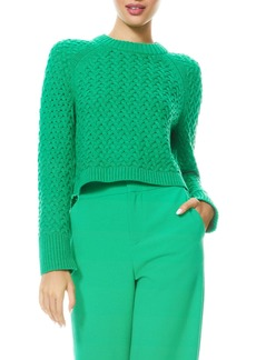 Alice + Olivia Leta Chunky Knit Crop Cotton & Wool Blend Sweater
