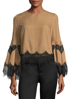 Alice + Olivia Levine Bell-Sleeve Blouse w/ Lace