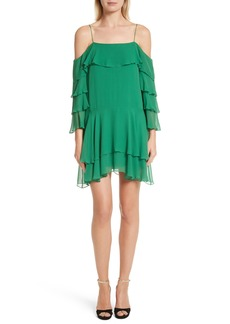 Alice + Olivia Lexis Lyrd Silk Cold Shoulder Ruffle Dress