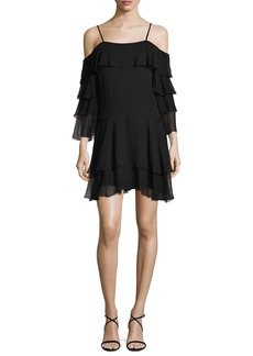 Alice + Olivia Lexis Ruffled Cold-Shoulder Mini Dress