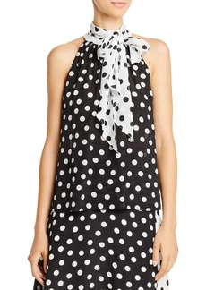 Alice + Olivia Liana Tie-Neck Polka Dot Silk Top