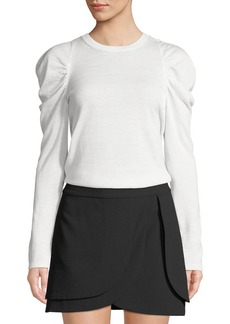 Alice + Olivia Lidia Crewneck Gathered-Sleeve Stretch-Wool Top