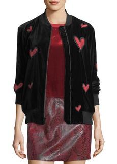 Alice + Olivia Lila Embroidered Patch Oversized Velvet Bomber Jacket