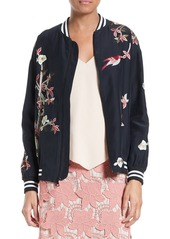 Alice + Olivia Lila Embroidered Silk Bomber Jacket