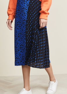 alice + olivia Lilia Asymmetrical Pleated Midi Skirt