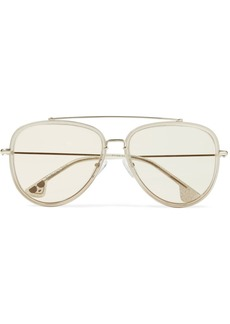 Alice + Olivia Lincoln aviator-style glittered acetate and gold-tone sunglasses
