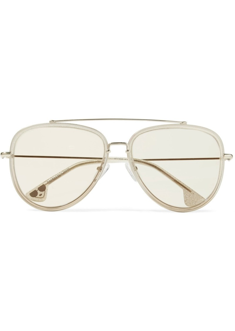 20826cf208 Alice + Olivia Lincoln aviator-style glittered acetate and gold-tone  sunglasses