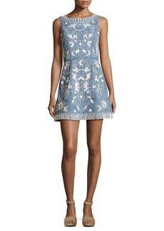 Alice + Olivia Lindsey Embroidered A-Line Denim Mini Dress