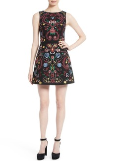 Alice + Olivia Lindsey Embroidered A-Line Dress