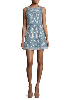 Alice + Olivia Lindsey Embroidered Cotton Chambray Dress
