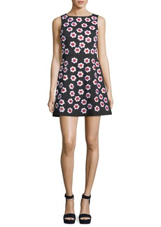 Alice + Olivia Lindsey Sleeveless A-Line Dress with Floral Appliques