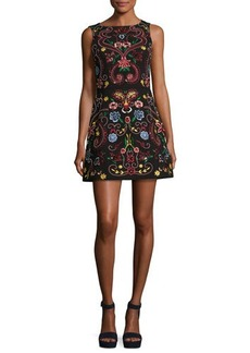 Alice + Olivia Lindsey Sleeveless Embroidered Dress