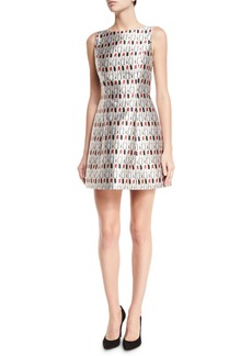 Alice + Olivia Lindsey Structured Cosmetics-Print Dress