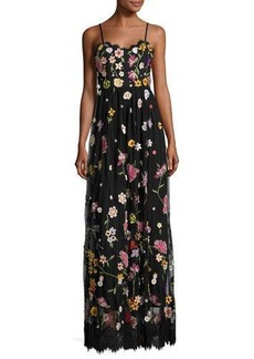 Alice + Olivia Lindy Sleeveless Embroidered Column Gown