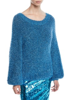 Alice + Olivia Lisha Blouson-Sleeve Metallic Sweater