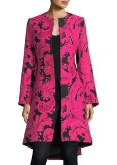 Alice + Olivia Liza Bell-Sleeve Paisley Embroidered Midi Coat