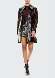 Alice + Olivia Logan Long Leather Coat