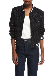 Alice + Olivia Lonnie Embellished Silk Bomber Jacket