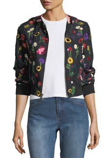 Alice + Olivia Lonnie Embroidered Hooded Bomber Jacket