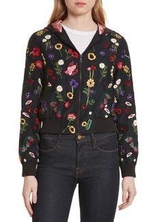Alice + Olivia Lonnie Embroidered Hooded Silk Bomber Jacket