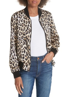 Alice + Olivia Lonnie Reversible Silk Bomber Jacket