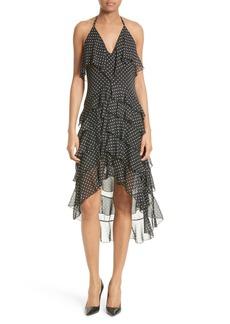 Alice + Olivia Lorilee Chiffon High/Low Halter Dress
