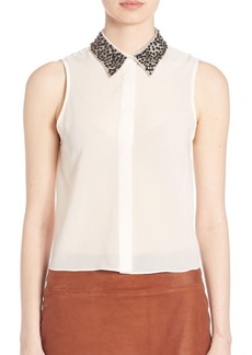 Alice + Olivia Lorrie Embellished Button-Front Top