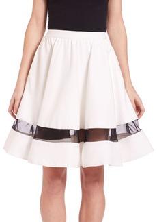 Alice + Olivia Lotus Flared Silk-Panel Skirt