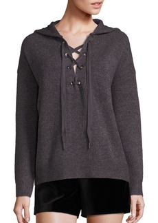 Alice + Olivia Louanne Long Sleeve Lace-Up Hoodie