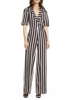 Alice + Olivia Luana Stripe Wrap Front Jumpsuit
