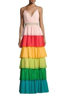 Alice + Olivia Luba Sleeveless Tiered Chiffon Gown