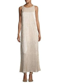 Alice + Olivia Lucia High-Slit Metallic Plissé Maxi Tank Dress
