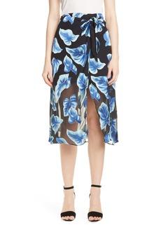 Alice + Olivia Lumi Tie Wrap Midi Skirt
