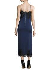 Alice + Olivia Luna Sleeveless Side-Slit Cocktail Slip Dress w/ Lace