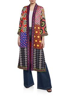 Alice + Olivia AO x CARLA Lynn Mixed-Print Side Slit Long Kimono