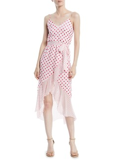Alice + Olivia Mable Faux-Wrap Polka-Dot Midi Dress