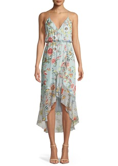 Alice + Olivia Mable Mock-Wrap Floral-Print Silk Chiffon Dress
