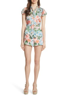 Alice + Olivia Macall Floral Ruffle Sleeve Romper