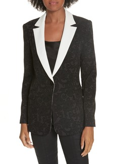 Alice + Olivia Macey Contrast Collar Fitted Blazer