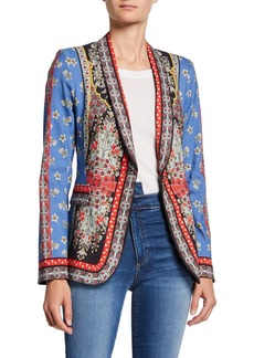 Alice + Olivia Macey Fitted Strong-Shoulder Patchwork Blazer