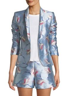 Alice + Olivia Macey One-Button Bird-Print Satin Jacket