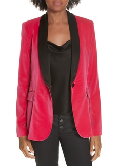 Alice + Olivia Macey Strong Shoulder Velvet Blazer