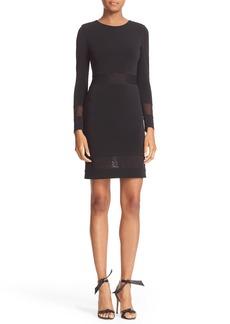 Alice + Olivia Madie Mesh Panel Body-Con Dress