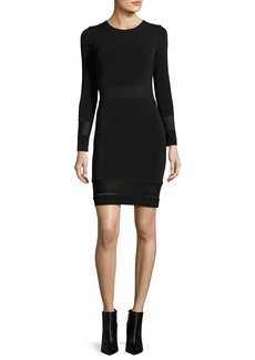 Alice + Olivia Madie Mesh-Panel Fitted Dress