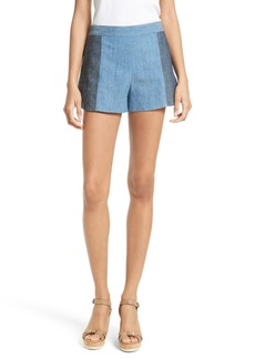 Alice + Olivia Madison Chambray Colorblock Shorts