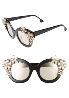 Alice + Olivia Madison Floral 46mm Gradient Lens Embellished Sunglasses
