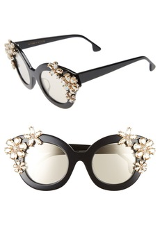 Alice + Olivia Madison Floral 46mm Special Fit Embellished Cat Eye Sunglasses