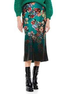 Alice + Olivia Maeve Floral Satin Slip Skirt