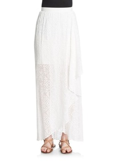 Alice + Olivia Maibella Printed Faux Wrap Maxi Skirt