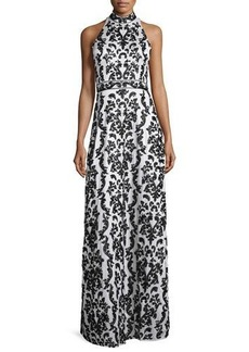 Alice + Olivia Makeena Embellished Lace Gown